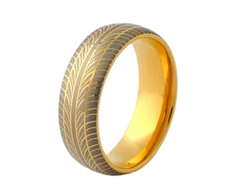 Tungsten Ring With Gold Plating and Grey Tire Pattern Design FREE SHIPPING