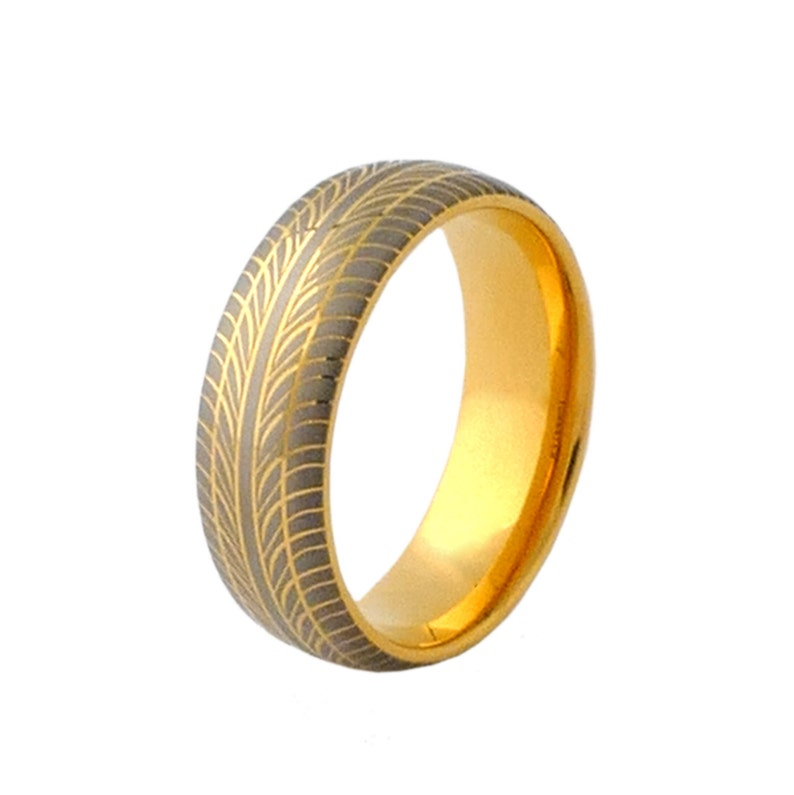 Tungsten Ring With Gold Plating and Grey Tire Pattern Design image 0
