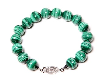 Malachite Bracelet with 925 Sterling Silver Clasp FREE SHIPPING