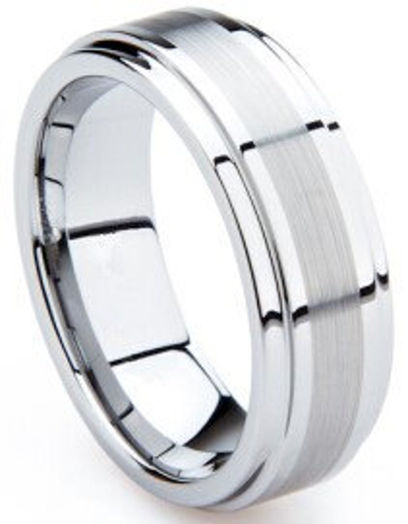 Mens Tungsten Ring With Beveled Edges and Brushed Line image 0