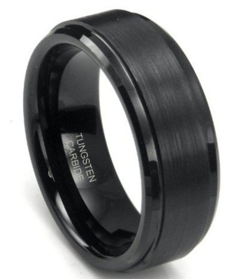 Mens Black Brushed Tungsten Ring Free Shipping image 0