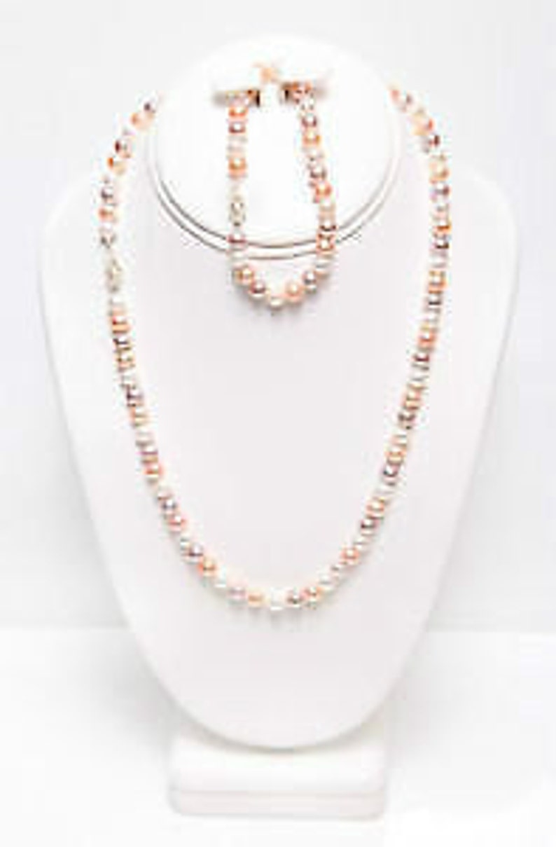 Natural Multi Color Freshwater Cultured Pearl Set Necklace and image 0