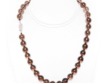 """Ladies Faceted Smoky Quartz Women's Necklace 17"""" Long with 925 Sterling Silver Clasp"""