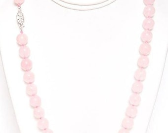 """Rose Quartz Necklace 17"""" Long with 925 Sterling Silver Clasp"""