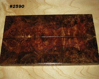 Premium Acrylic Stabilized Natural Color Maple Burl Bookmatched Lumber, Custom Knife Scales Jewelry Making Inlays, Tool Handles #2590
