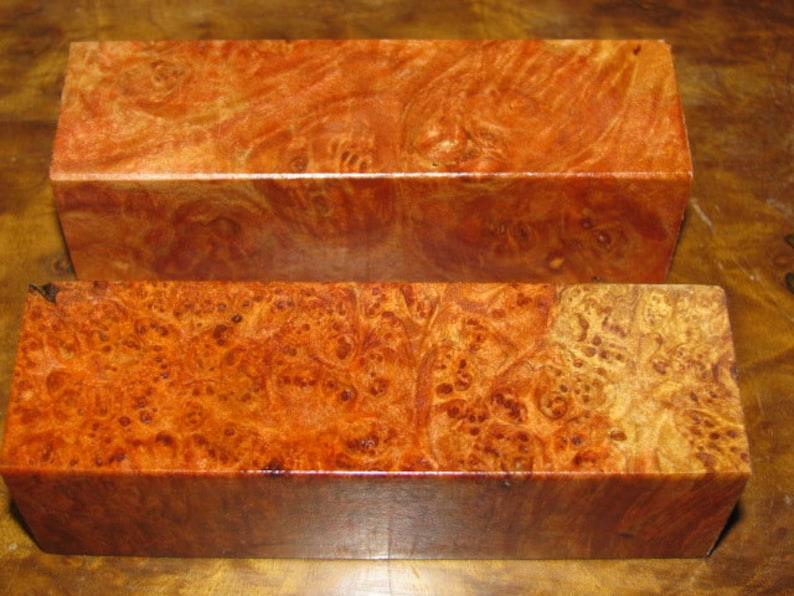 2 Premium Acrylic Stabilized Double-Dyed, Big Leaf Figured Maple Burl,  1-1/4sq  x 4-1/8 Tool, Knife Block, Pen Blank, Wood Turning #3212