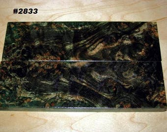 Premium Acrylic Stabilized Double-Dyed Maple Burl Bookmatched Lumber, Custom Knife Scales Jewelry Making Inlays, Tool Handles #2833