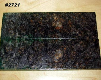 Premium Acrylic Stabilized Double-Dyed Maple Burl Bookmatched Lumber, Custom Knife Scales Jewelry Making Inlays, Tool Handles #2721