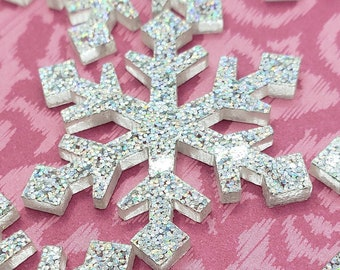 Large Resin Snowflake Cabochons, Snowflake Ornament Supplies, Sparkling Snowflake Decorations, Snowflake Cupcake Topper, Christmas Crafts