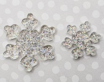 Glitter Resin Snowflake Cabochons, Clear Snowflake Decorations, Snowflake Craft Supplies, Scrapbook Snowflakes, Holiday Card Snowflake Charm