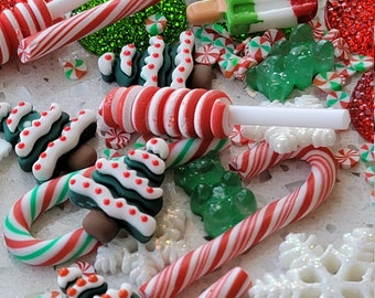 Resin Christmas Candy Cabochon Charms, Craft Holiday Mix Decoden, Slime Play Dough Parts, Imitation Dollhouse Food, Fake Candy Canes  40 Pcs
