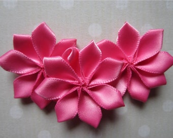 Pink Ribbon Satin Petal Flowers, Pink Fabric Ribbon Flower Roses, Scrapbooking Flowers, Flower Hair Accessories 1.5 Inches