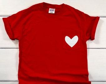 289a555f91 Valentine s Day Shirt - Heart Pocket Tee - Heart Pocket T-Shirt - Glitter Heart  Shirt - Valentine s Day Shirt for Women - Heart Shirt