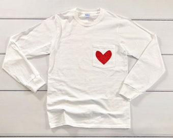 ea75bd7038 Heart Shirt - Valentine s Day Shirt - Heart Pocket Tee - Heart Pocket T- Shirt - Glitter Heart Shirt - Valentine s Day Shirt for Women