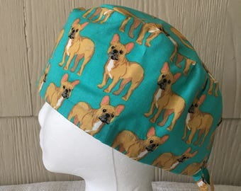 984be8d8a9787 French Bulldogs on Teal Scrub Cap