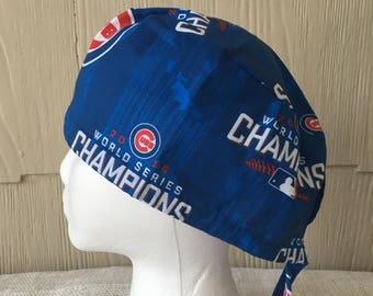 9aa7f5087b4 Chicago Cubs World Series Champions Scrub Cap  Last made with matching tie