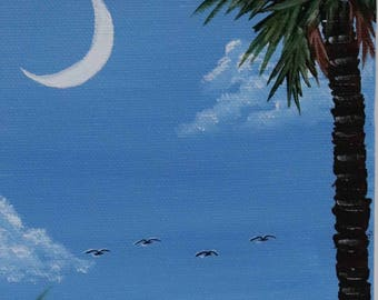 "Palm Tree and Crescent Moon On the beach Near Charleston, SC.  Hand Painted 5"" X 7"" on Metal Stand"