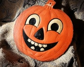1940's 'Smiling Pumpkin' - Vintage Halloween Die Cut by H.E. Luhrs - Beistle Co.