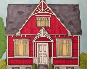 Red House Portrait Blank Note Cards - Set of 8 - 2 of Each Design