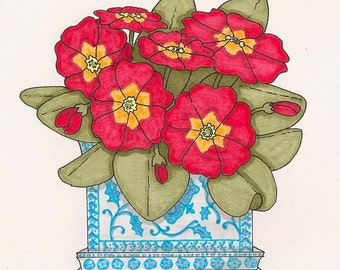 Beautiful Red Primrose Note Cards - Set of 8