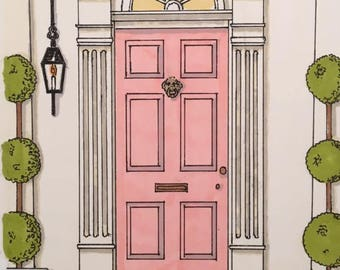 Pink House Portrait Blank Note Cards - Set of 8 (2 of each design)