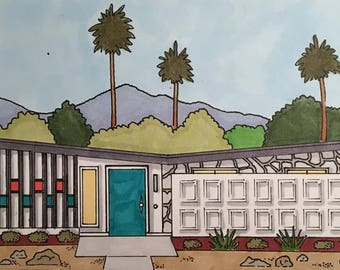Palm Springs Mid-Century Modern House Portrait Blank Note Cards (Series 2) - Set of Eight (2 of each design)
