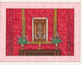 The White House Red Room c. 1952 Note Cards - Set of 8 - Suitable for Framing!