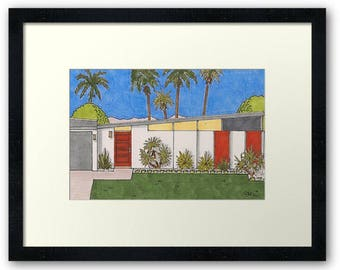 Palm Springs Mid-Century Modern Rancho Mirage Framed House Portrait