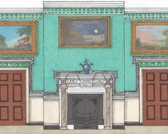 Your Favorite Rooms - Custom Illustrations..Interior Design Custom Illustration..Made to Order Art..Original Art..Favorite Room Drawing