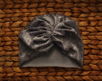 cdd71f27a58 Grey Crushed Velvet Baby Headwrap