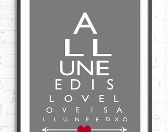 All You Need Is Love, Eye Chart Wall Art, Unique Gift, Husband Present, Wife Gift, Unique Anniversary Gift, Beatles Lyrics Print, Paper Gift