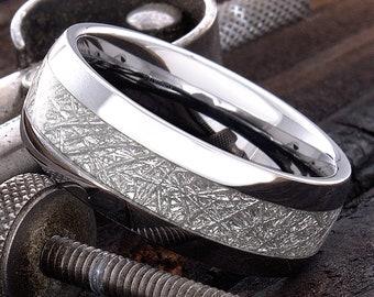 Mens Tungsten Ring - Womens Tungsten Ring - Wedding Band for Men - 8mm Tungsten Ring - Meteorite Ring - Dome Shaped Tungsten