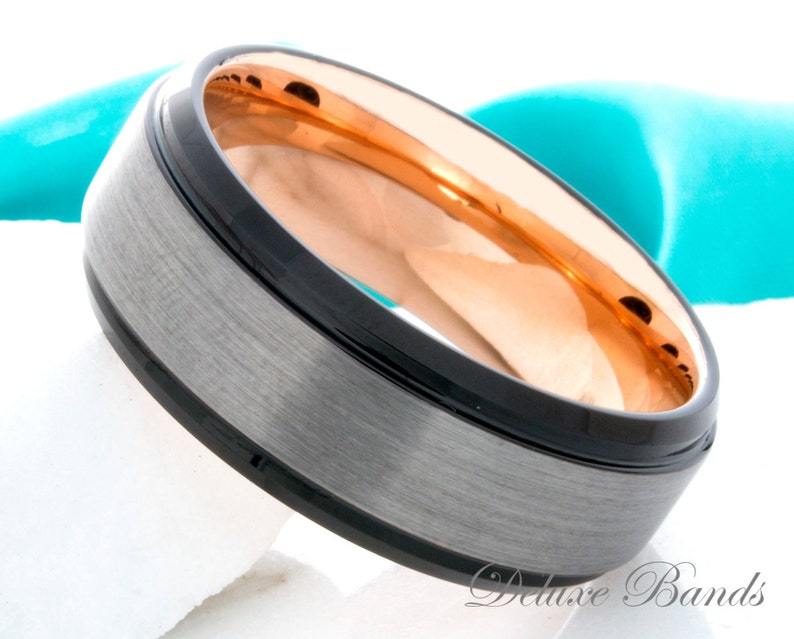 Tungsten Wedding Ring 8mm Black Rose Gold Brushed Mens Womens Anniversary Ring His Hers Tungsten Band Promise Engagement Ring Matching Ring