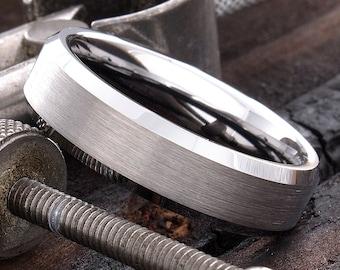Tungsten Ring, Tungsten Band, Wedding Ring, Men Tungsten Ring, Personalized Ring, Wedding Band, 6mm Beveled Edges Tungsten Ring, Comfort Fit