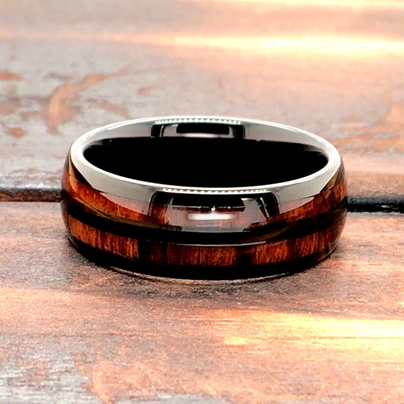 Wooden Wedding Band Tungsten Wood Ring Tungsten Ring Wood Wedding Ring Mens Wedding Band 8mm Tungsten Ring Black Ring with Wood