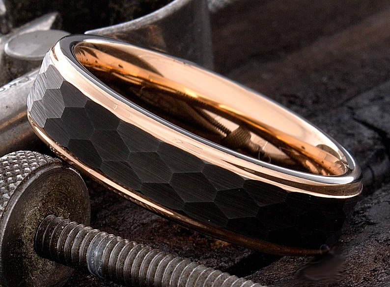Tungsten Wedding Ring Men/'s Tungsten Wedding Band Rose Gold Tungsten Ring Hammered 6mm Tungsten Ring Men Women Personalized Ring Comfort Fit