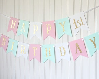 Gold, Pink, Mint, White, Happy Birthday Banner/ Girl Birthday/ Princess Party/ Party Decorations/ Custom Name/ Personalized