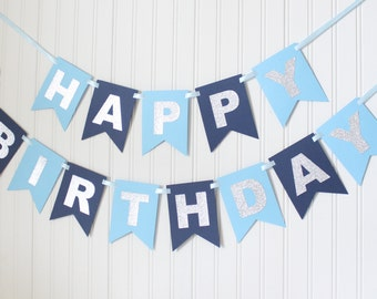 blue happy 1st birthday banner boy birthday prince party etsy
