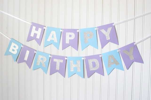 Disney Frozen Silver Purple Blue Happy 1st Birthday Banner Girl Princess Party Child Decoration Personalized Name