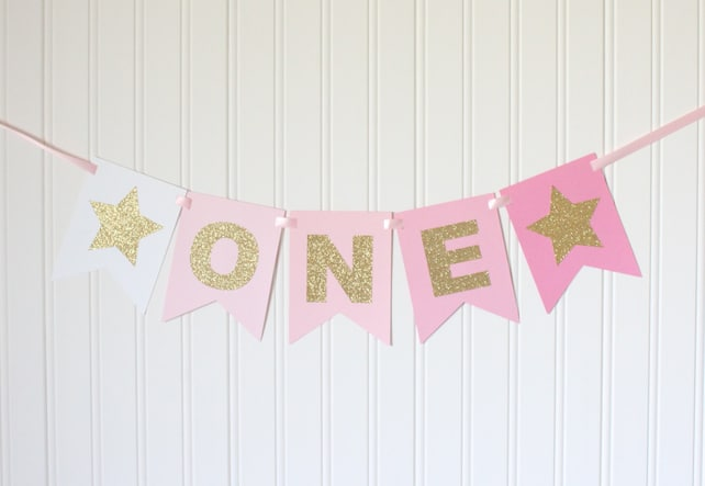Gold Glitter Pink Ombre ONE High Chair Banner Star Happy Birthday Girl 1st Princess Party Decorations First