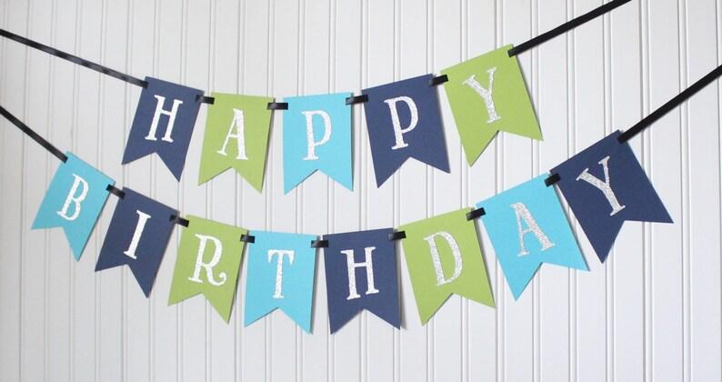 Silver Navy Blue Green Happy 1st Birthday Banner/ Boy image 0