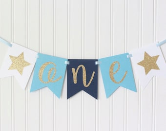 Gold, White, Blue, Navy Ombre Star  ONE High Chair Happy Birthday Banner/ Girl Prince Party/ Party Decorations/1st birthday/cursive baby boy