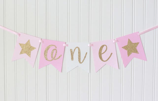 Gold Pink White Ombre Star ONE High Chair Happy Birthday Banner Girl Princess Party Decorations 1st