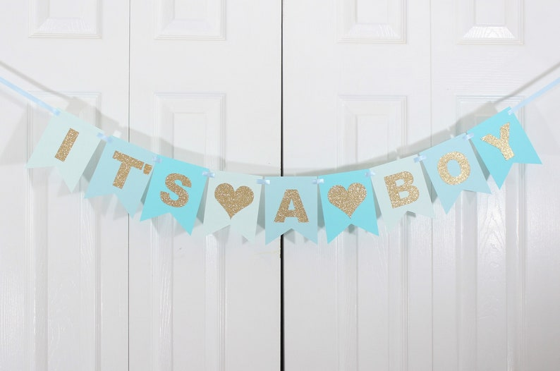 It/'s A Boy Banner Baby Shower Baby Boy  Party Decorations New baby Party decoration Custom Gold baby shower Gold glitter Blue Ombre
