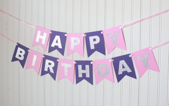 Silver Pink And Purple Happy 1stBirthday Banner Girl Birthday Princess Party Child Decoration Personalized