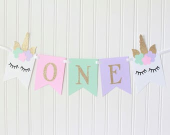Gold, Pink, White, Mint, Purple ONE High Chair Unicorn Horn Happy Birthday Banner/ Princess Fairy Party/ Party Decorations/1st birthday