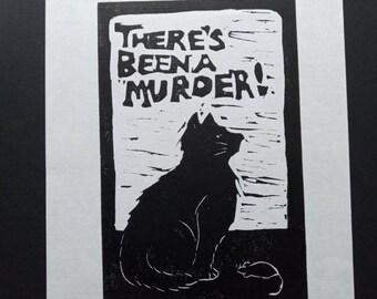Cat and mouse Lino print Original signed artwork