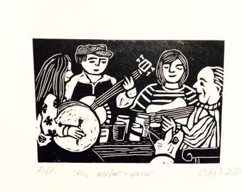 Music. Linocut print.  Original art. Signed.