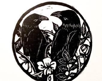 Crows. Linocut print.  Original art. Signed.