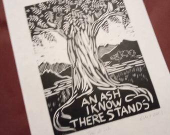 Yggdrasil - Tree of Life linocut print. Original signed artwork.